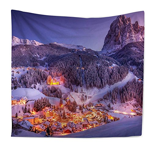 YGUII Winter Landscape with Sunset and Frozen Trees Ice Weather Blizzard Cold Days Image, Wall Hanging for Bedroom Living Room Dorm150200 cm(59