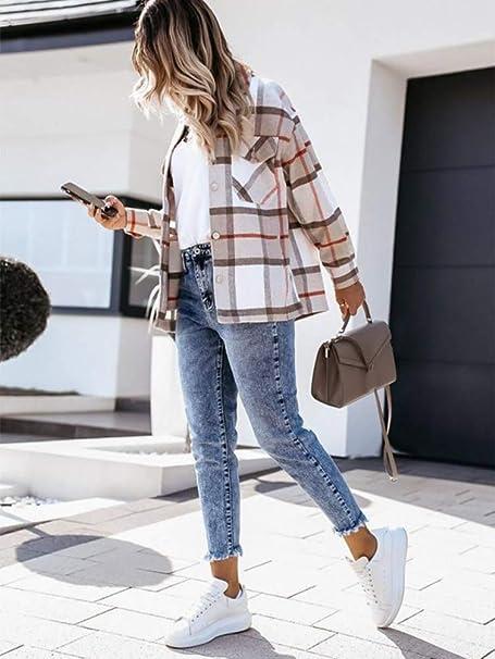 Femme Veste /à Carreaux pour,Chic Mode D/écontract/é Comfort Tops,Toison Veste,Manches Longues Printemps et Automne Femmes Outwear