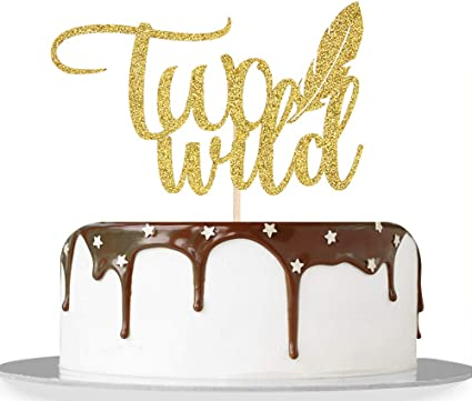 Gold Glitter Twins Cake Decor Twins Baby Shower Supplies Safari Woodland Themed Twins 1st Birthday Party Decorations Born Two Be Wild Cake Topper