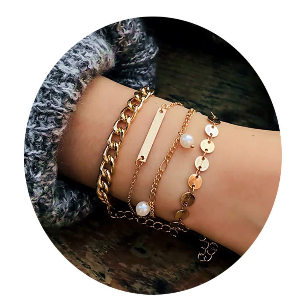Retro Geometric Metal Sequin Pearl Pendant Jewelry Personality Multi-Layer Chain Bracelet Female Fashion Jewelry