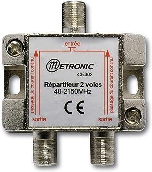 Metronic 432500 Divisor de señal para Cable coaxial Cromo Cable Divisor y combinador - Splitter/Combinador de Cables (Divisor de señal para Cable ...