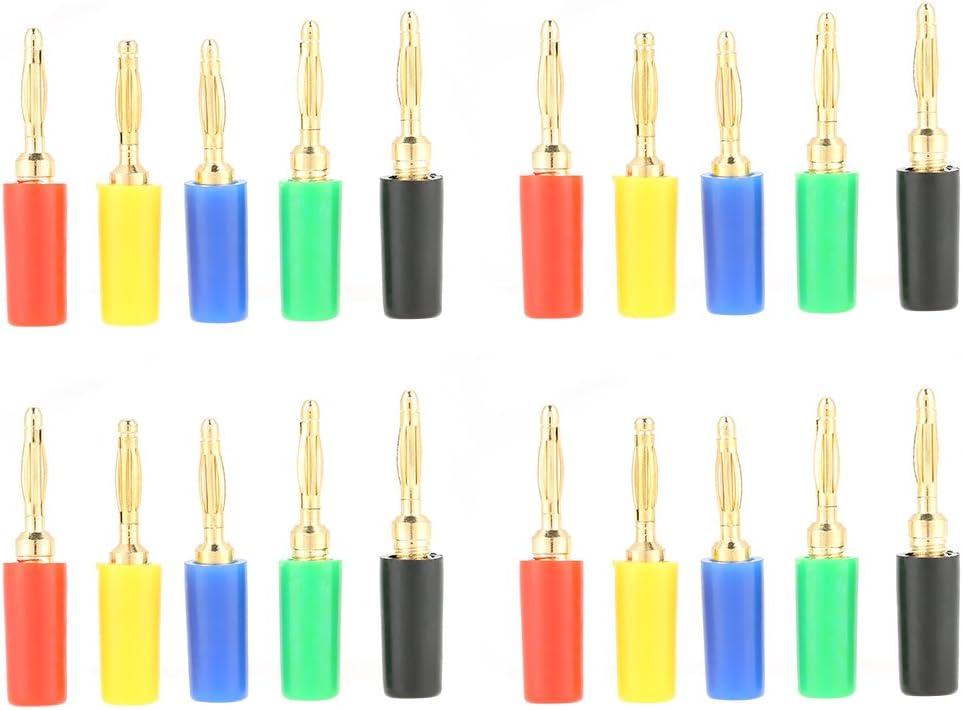 Duokon 2mm Colores Mezclados Banana Plugs Chapado en Oro Cable de Altavoz Musical Cable Pin Jack Sondas de Prueba Conectores para Amplificador (20 Unidades/Juego)