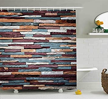 Shower Curtain Stone Brick Comical Colored Surface Retro Style Urban House