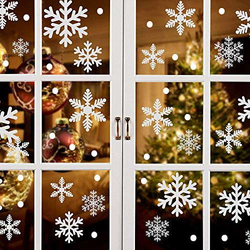 ASZKJ Christmas Snowflake Window Stickers Clings Decorations, 8 Sheets Extra Large White Snowflakes Window Clings, Hanging Ornaments Decal Winter Wonderland Xmas Holiday Party Supplies(184PCS)