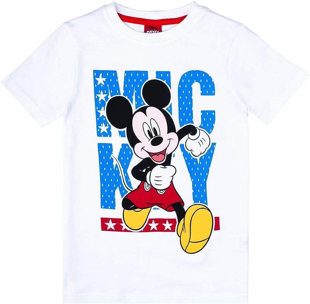 Disney Niños Mickey Mouse Camiseta, Blanco, Talla 128, 8 años: Amazon.es: Ropa y accesorios