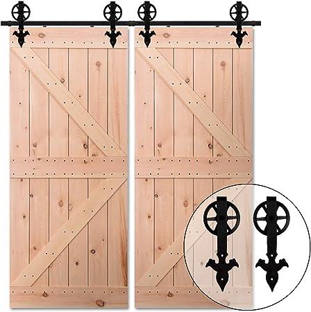 274CM/9FT Herraje para Puerta Corredera Kit de Accesorios para Puertas Correderas Juego de Piezas,para puerta doble,negro: Amazon.es: Bricolaje y herramientas