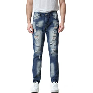 501b9abb Molyveva Men Fashion Casual Ripped Jeans Vintage Slim Wash Work Trousers  Pants at Amazon Men's Clothing store: