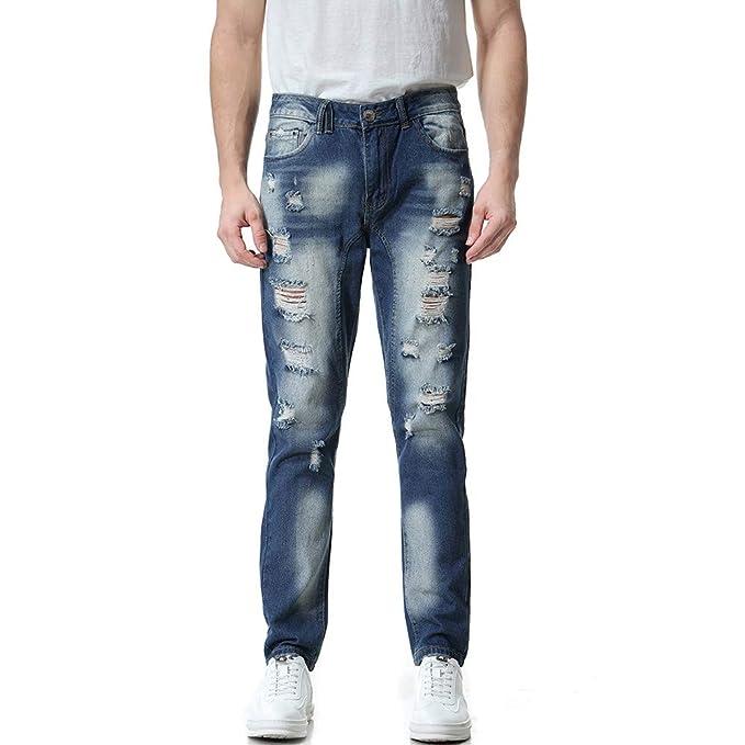 Pantalones para Hombre, Hombres Casual Otoño Denim Algodón ...
