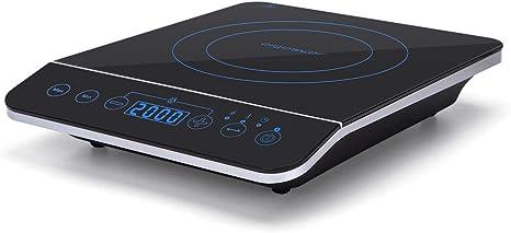 Aigostar BlueFire 30PKZ- Placa de inducción portátil, 2000 W, control táctil, 10 niveles de potencia, temporizador, pantalla digital LED. Para ...