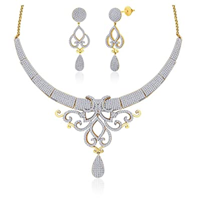 "Peora Valentine 18 Karat Gold Plated Cubic Zirconia ""Gloria"" Necklace Earrings Set (PN409GJ) Jewellery Sets at amazon"