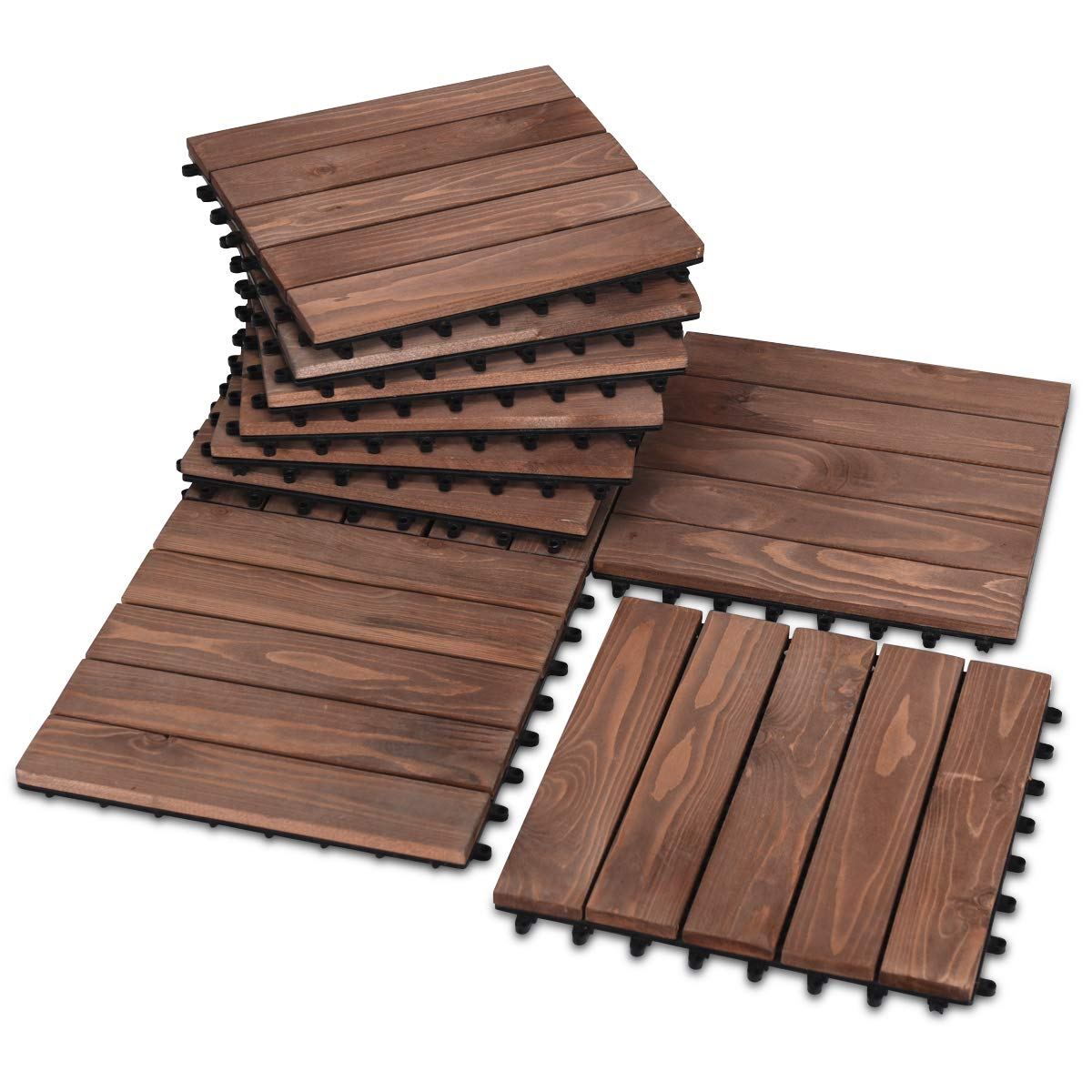 Giantex 11 Pcs Floor Tiles Interlocking Wood Deck Tiles Patio Pavers Indoor and Outdoor Flooring Decking Tiles Stripe and Check Pattern, 12 X12 Inches