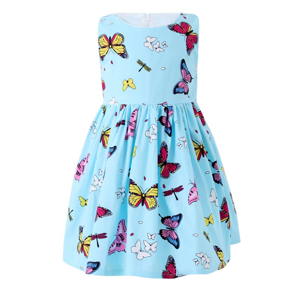 ead048d113e7 Amazon.com: SMILING PINKER Little Girls Dress Butterfly Swing Party Summer  Cotton Dresses for Baby Toddler: Clothing