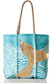 product image for Sea Bags Recycled Sail Cloth Gold Mermaid Tail and Waves Tote