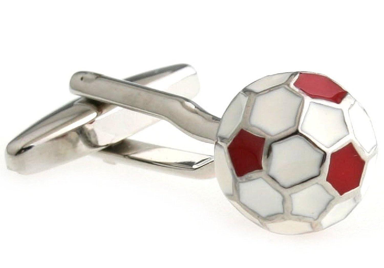 Gemelos Mall joyas para hombre balón de fútbol 3d rojo camisa de ...