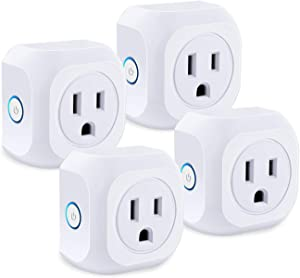 Smart Plug, SZBOLYCO 4 Pack Mini Socket Smart Wifi Outlet Compatible with Alexa and Google Assistant Timer Function Remote Control Your Home Appliances, No Hub Required, FCC CE Certificated, White