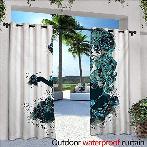 homehot Skull Indoor/Outdoor Single Panel Print Window Curtain Vintage Sugar Skull Girl Day of The Dead Bride with Dark Color Roses Graphic Silver Grommet Top Drape W84 x L108 Petrol Blue White ()