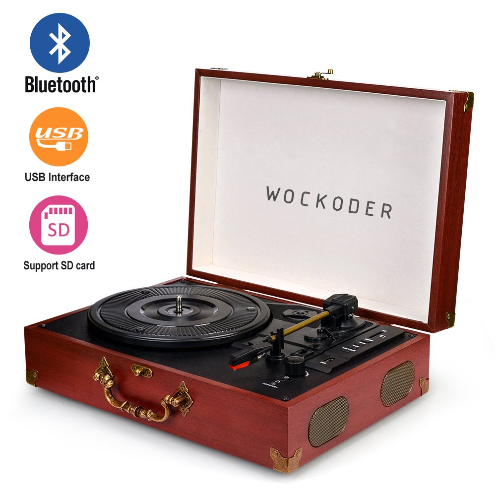 Wockoder Portable Bluetooth 3 Speed Turntable with Built in Stereo Speakers, Vintage Style Vinyl Record Player by WOCKODER