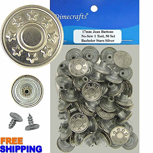 Star Tacks (17 mm No-Sew Bachelor Stars Silver 50 Jean Tack Buttons w/Tool)