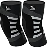 Elbow Compression Sleeves (1 Pair) - Support for Tendonitis Prevention & Recovery - 1 Year Warranty...