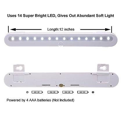 Jebsens T01 Battery Operated LED Closet Light, Wireless Motion Sensor Led Night Light, 14 LED Under Cabinet Lighting, Adjustable Wireless Portable, On/Off/Auto Modes, Cool White