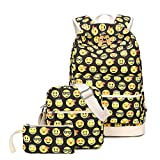 TIBES Cute Canvas School Backpack Funny Emoji Backpack for Girls Yellow