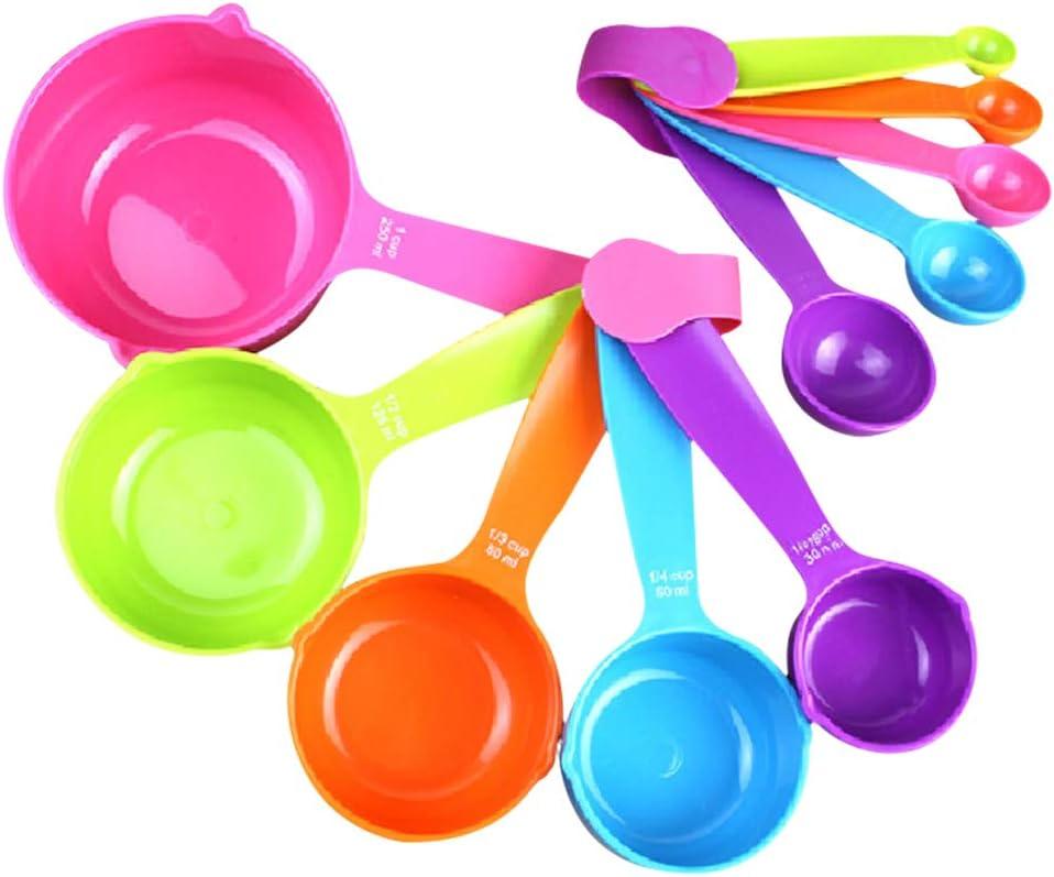 Sibosen 10 Pieces Measuring Spoon with Scale Sets Plastic Flour Milk Powder Measuring Spoon Set for Baking Tool Kitchen Seasoning Spoon