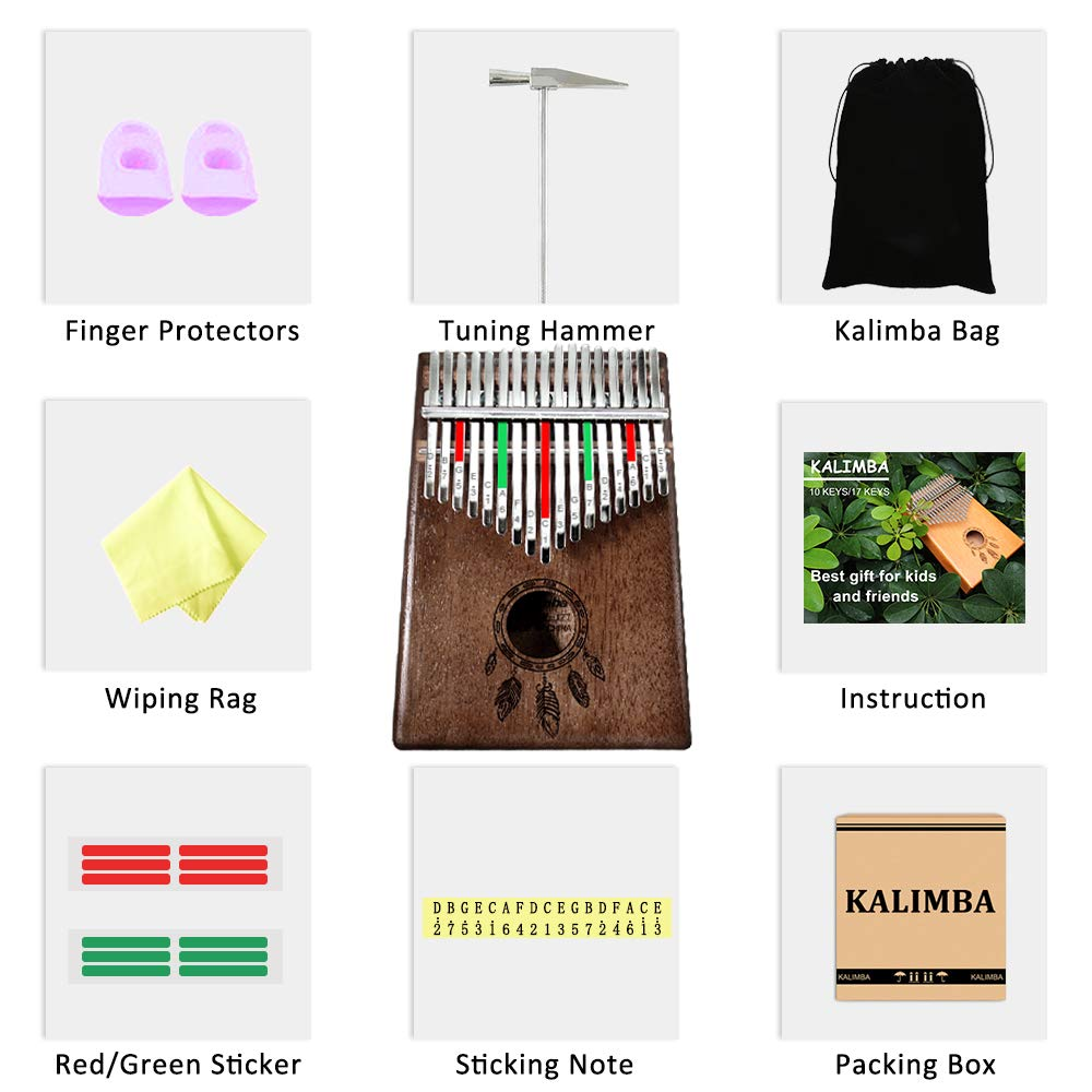 Kalimba 17 Keys Thumb Piano, Solid Wood Finger Piano with Portable Bag and Study Instruction, African Musical Instruments Mbira Carved with Feathers, Best Gift for Beginners Kids Adult(Dark Brown) by NewCee (Image #7)