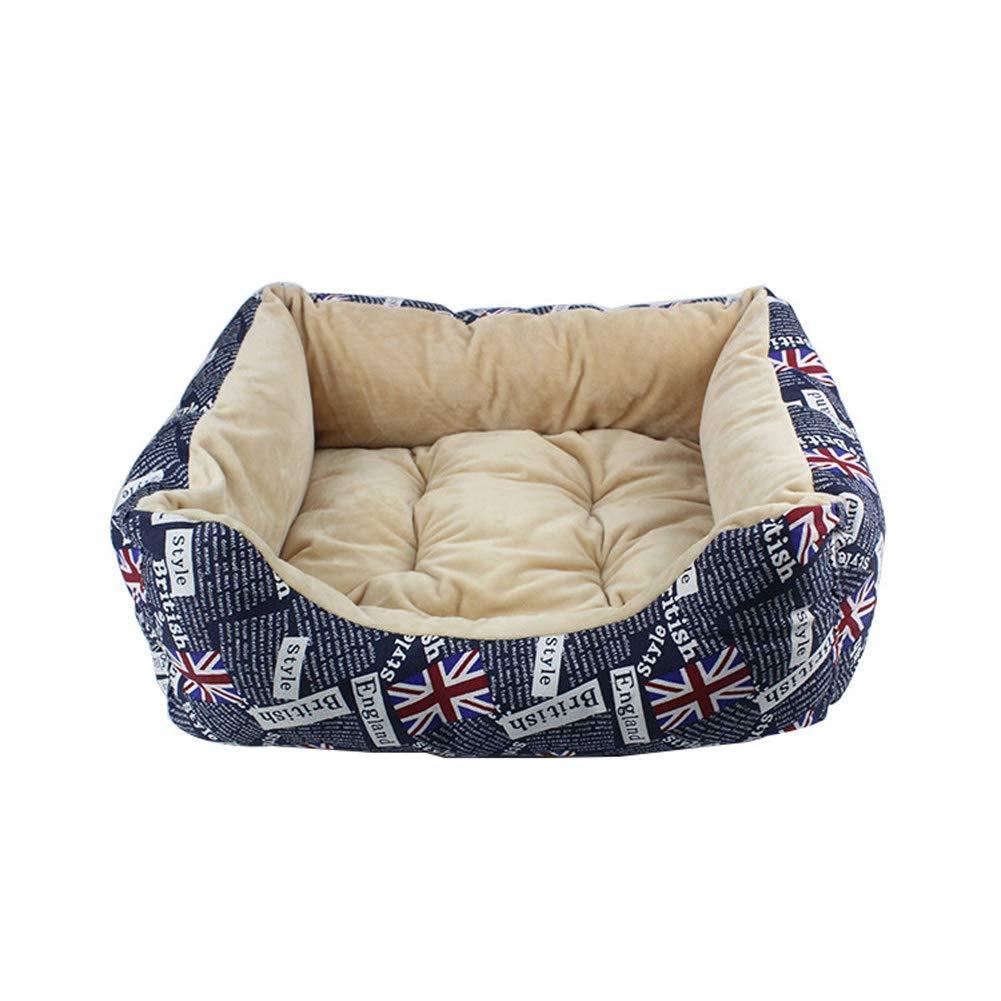 bluee 463820cmHeiPlaine Pet Sofa Pet bed, Winter cotton velvet pet kennel cat litter, Pet supplies Nest,bluee,60  48  20cm (color   bluee, Size   46  38  20cm)