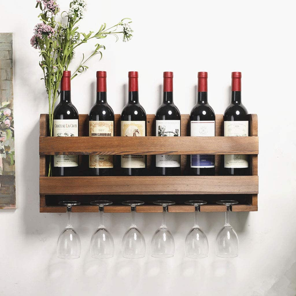 Betty Botelleros Estante para vinos Color : Brown 7 Botellas de Madera Maciza Colgante de Pared Portavasos de Vino Portavasos Soporte de exhibici/ón Decoraci/ón Restaurante Familiar