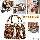 Retro Style Rattan Woven Bag Handbag Beach Bag Storage Basket Lunch Box Bag
