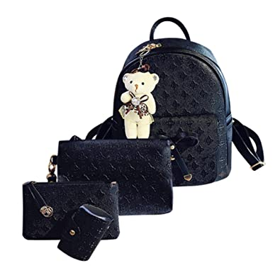 3cdff68237d ... Bags School Cardbags For Women Girls fashion backpack four sets +  Messenger bag + clutch bag + coin purse Black White Pink girls boys teenage  ladies