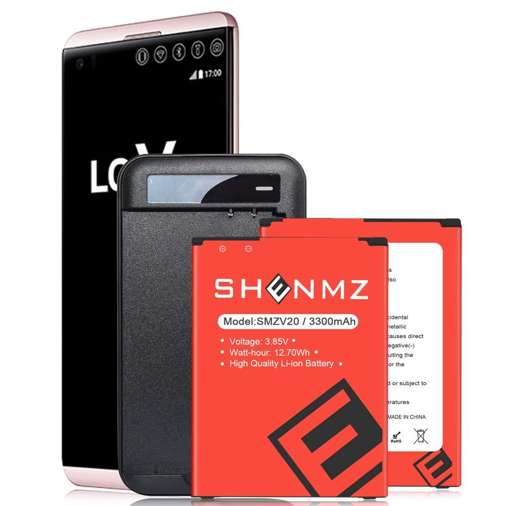 LG V20 Battery,2X 3300mAh Replacement Li-ion Battery for LG V20 BL-44E1F H918 H910 VS995 H990 LS997 with LG V20 Spare Battery Charger | LG V20 Battery Charger Kit [24 Month Warranty]