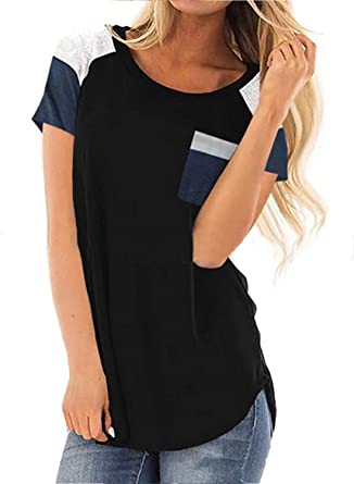 bfe584f19f9 Ruiyige Ladies Comfy Patchwork Clothes,Womens Short Sleeve T Shirts,Black  Tag S/