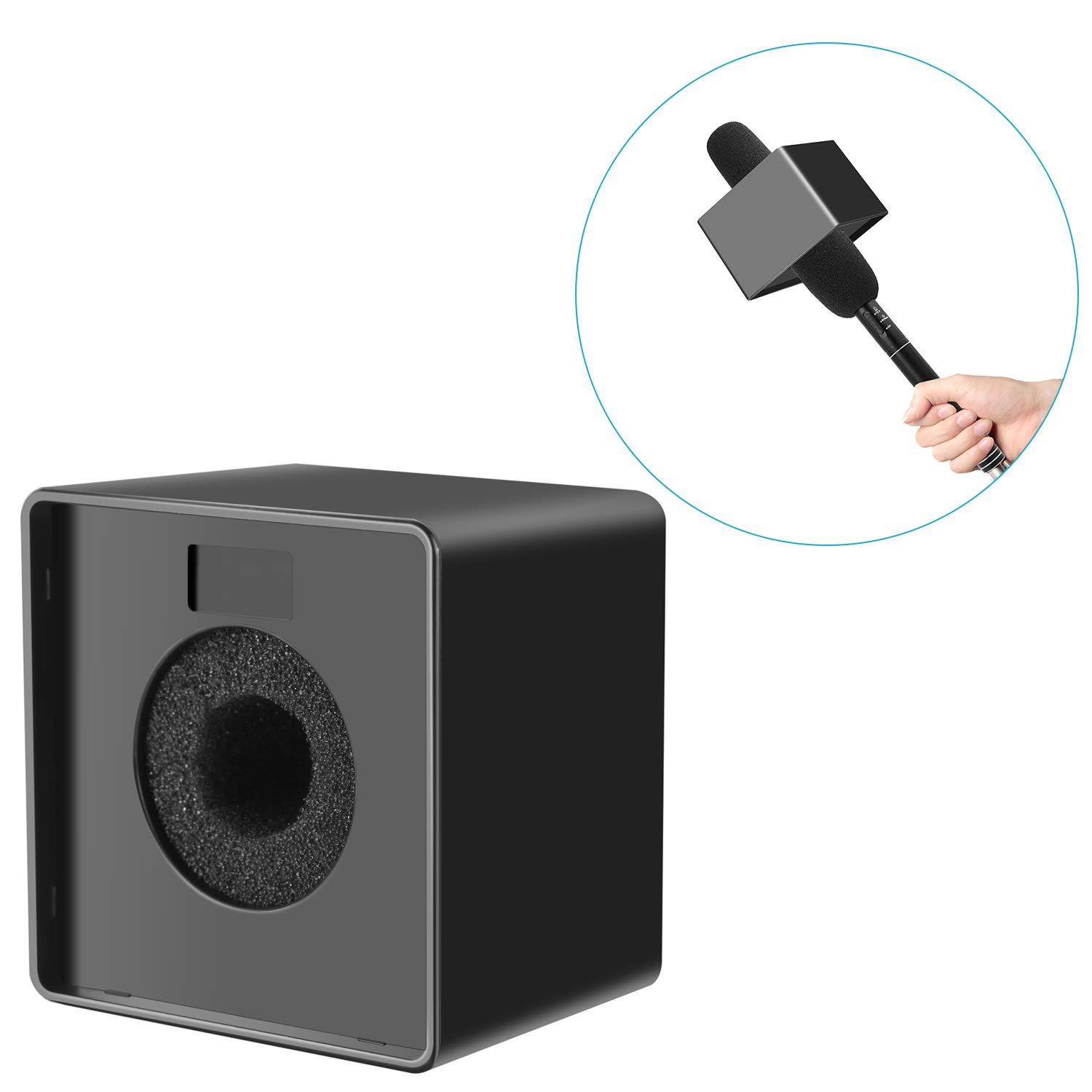 Neewer Portable Square Cube Shaped Interview Mic Microphone Flag Station Logo with Max. 1.57 inches/4cm Hole, Black 40093738
