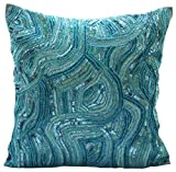 "Luxury Blue Euro Shams Covers, 26""x26"" Euro Pillow Covers, Sequins and Beaded Abstract Glitter Sparkly Euro Pillow Shams, Silk Euro Pillow Shams, Geometric Contemporary Euro Shams - Aqua Infinity"