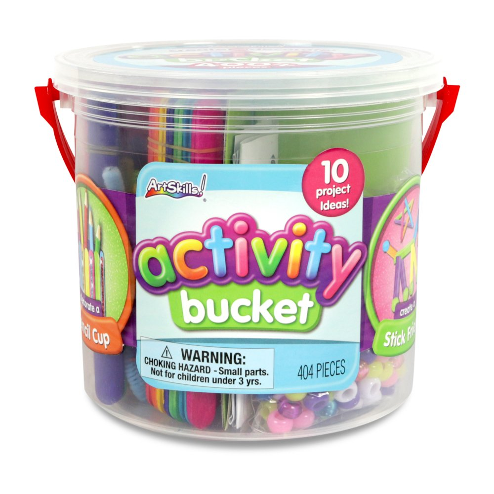 ArtSkills Activity Bucket, Arts and Crafts Supplies, 10 Project Ideas, Assorted Colors and Shapes, 404 Count AMYS-138