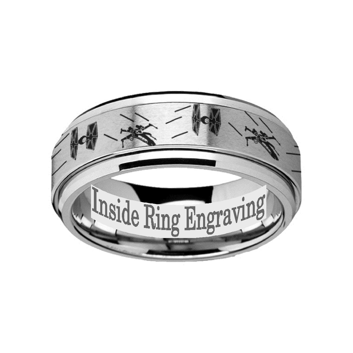Thorsten Spinning Inside Engraved Star Wars Tie Fighter Xwing Design Tungsten Carbide Spinner 8mm Wide Wedding Band Personalized From Roy: Star Wars Wedding Bands Tungsten At Websimilar.org