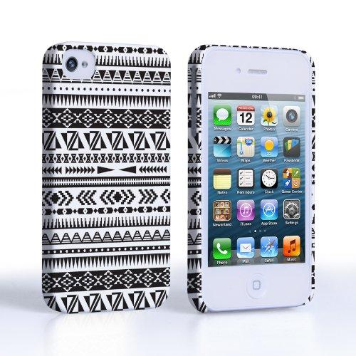 Caseflex iPhone 4 / 4S Case Black / White Aztec Hard Cover