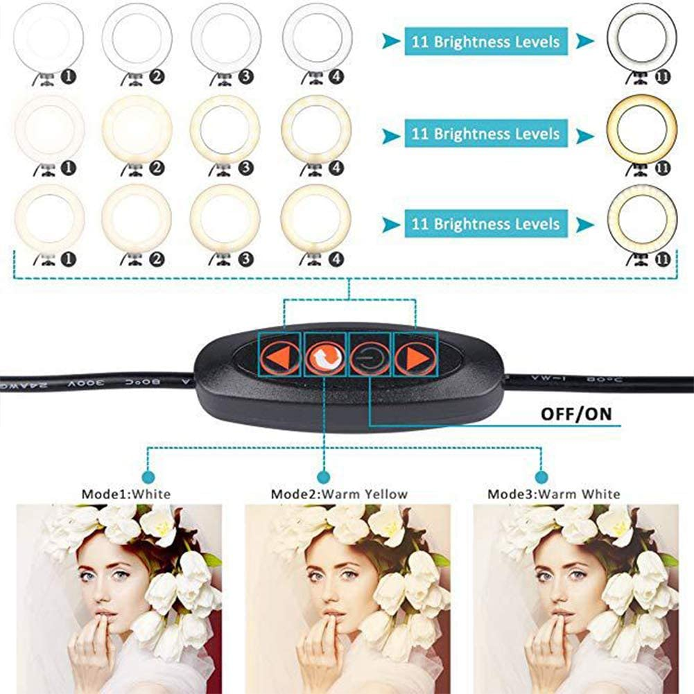 Ezyz 5.7 Inch Dimmable LED Ring Light with Fill Light Mobile Phone Holder