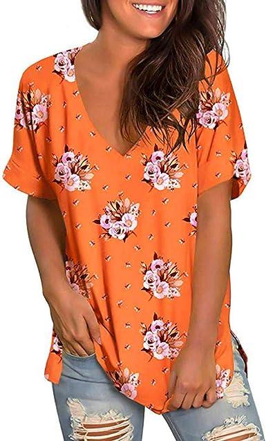 Poachers Camisetas Mujer Manga Corta Originales Camisas Hawaianas Mujer Blusas para Mujer Verano Elegantes Tops Mujer Verano 2019 Impresión Casual con Cuello en V: Amazon.es: Ropa y accesorios