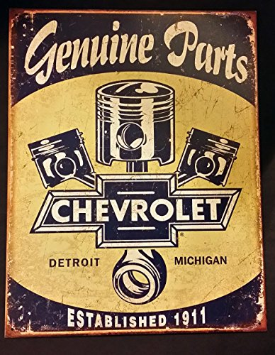 Chevrolet   Chevy Genuine Parts Pistons Tin Sign 13 X 16In
