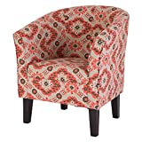 Glitzhome Handcrafted Accent Chair Melon & Gray