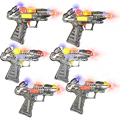 Ranger Hand-Gun Toy Set w/ Flashing Lights and Sounds by ArtCreativity, 6 Cool Futuristic Handguns, Pretend Play Toy Guns, Great Party Favor - Gift for Boys and Girls, Batteries Included