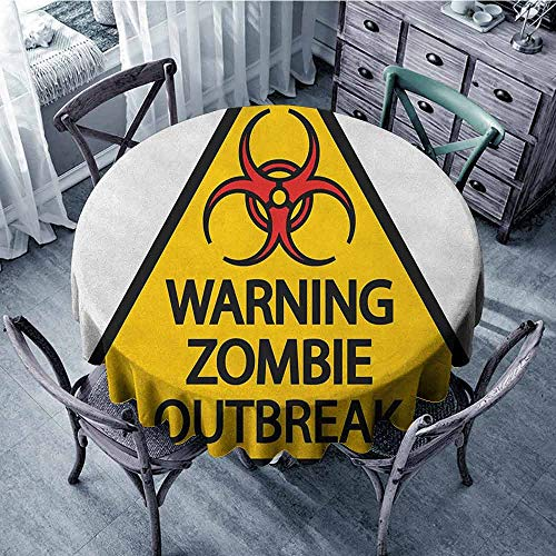 ScottDecor Reusable Round Tablecloth Dinning Tabletop Decoration Zombie,Warning The Zombie Outbreak Sign Cemetery Infection Halloween Graphic, Earth Yellow Red Black Diameter -