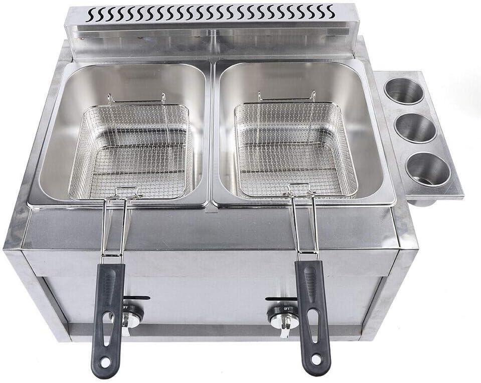 12L Countertop Gas Fryer 2 Baskets Deep Fryer Machine Liquid Propane/Natural Gas, Deep Fryer Potato Chips Chicken Fried Oil Kitchen Stainless, USA STOCK