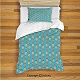 Lighthouse Kids Duvet Cover Set Twin Size Summer Season Inspired Zigzag Pattern Marine Theme Vacation Helm Navigation Decorative 2 Piece Bedding Set with 1 Pillow Sham Blue Red Yellow