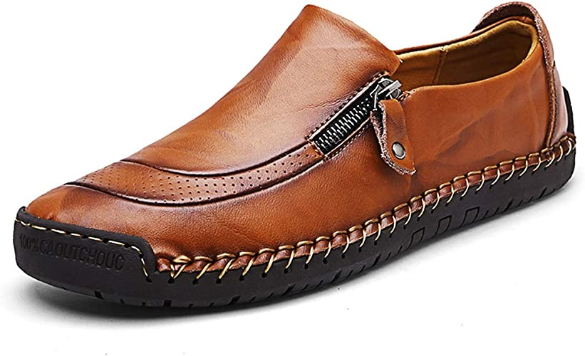 Mens Casual Cowhide Shoes Driving Boat Shoes Slip On Loafer Oxfords Shoes Size10