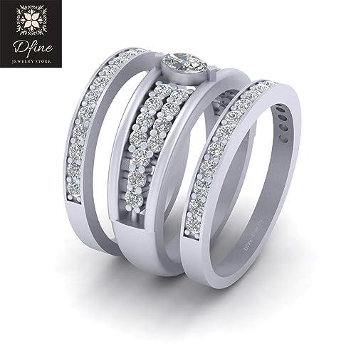 3ef8f5b13b854 Amazon.com: Solid 14k White Gold Marquise Diamond Engagement Ring ...