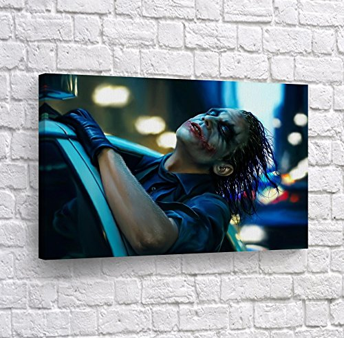 Joker Heath Ledger The Dark Knight in Police Car Canvas Print Wall Art Realistic Digital Painting Home Decor Poster Artwork Framed and Stretched- Ready to Hang – 100 Handmade in The USA – 19×28