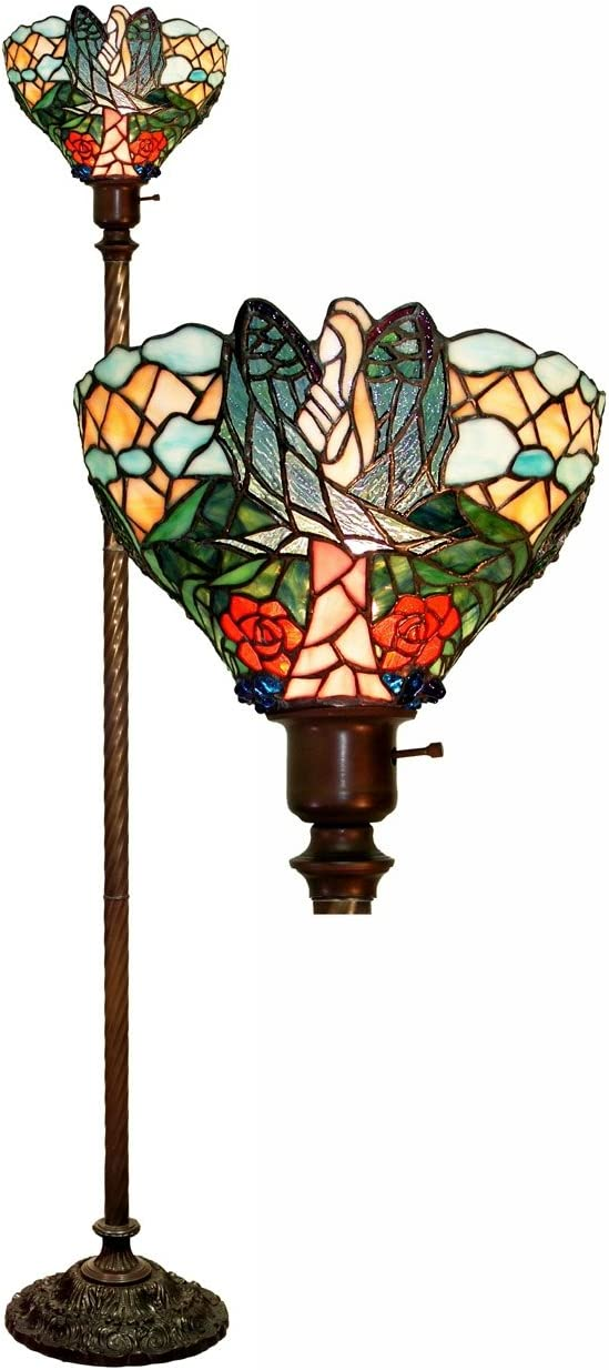 HT Tiffany Styled Mini Table lamp 10 inch Wide Rose Traditional Handmade Stained Glass Shade Zinc Alloy Base for Lover Girlfriend Women,Corridor, Entry Living Room, Bedroom, Bedside Nightstand Dresser
